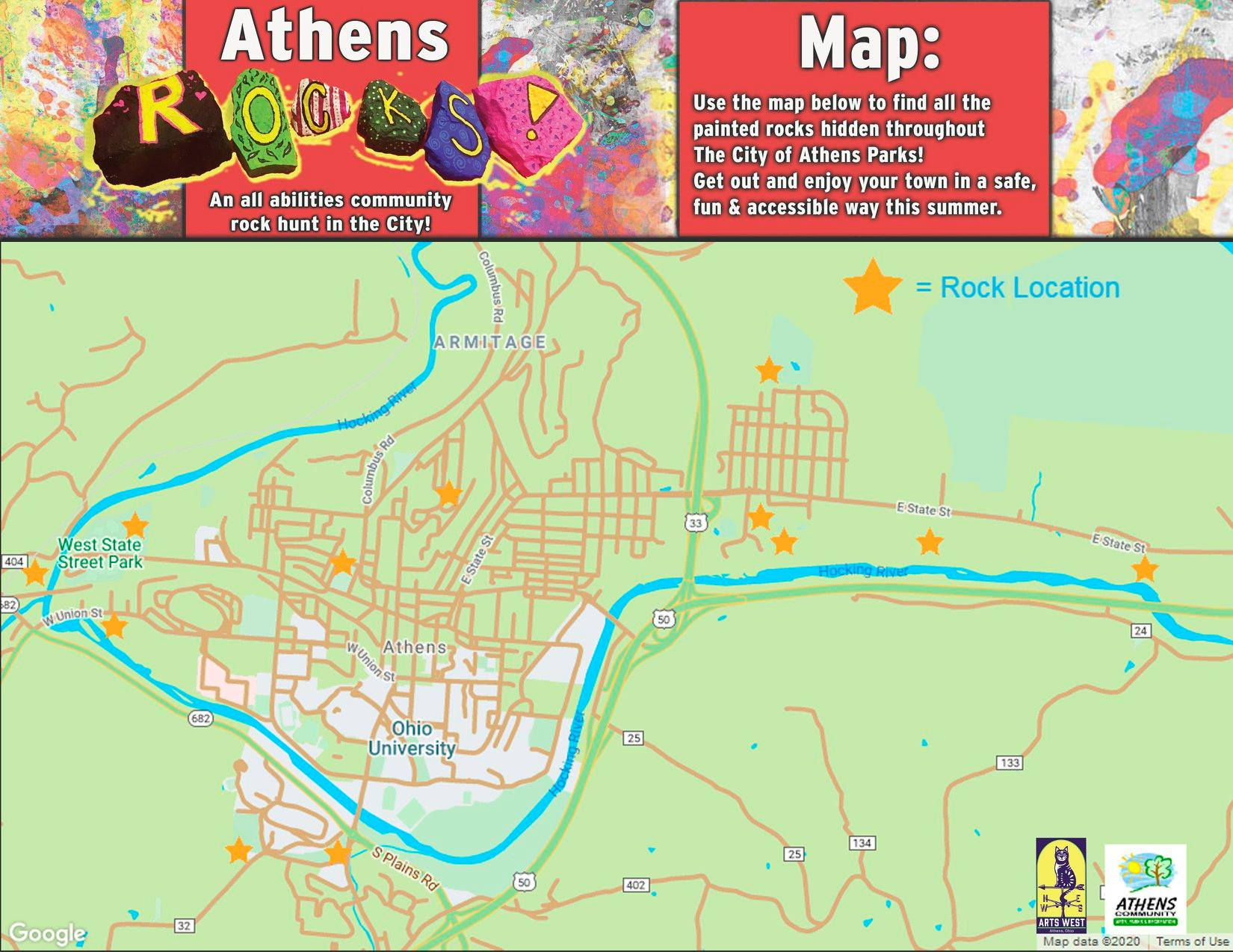 Athens Rocks Map Graphic