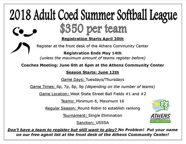 image of 2018 adult softball flyer